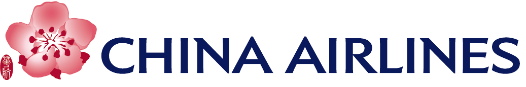 China Airlines Logo, red flower, blue text
