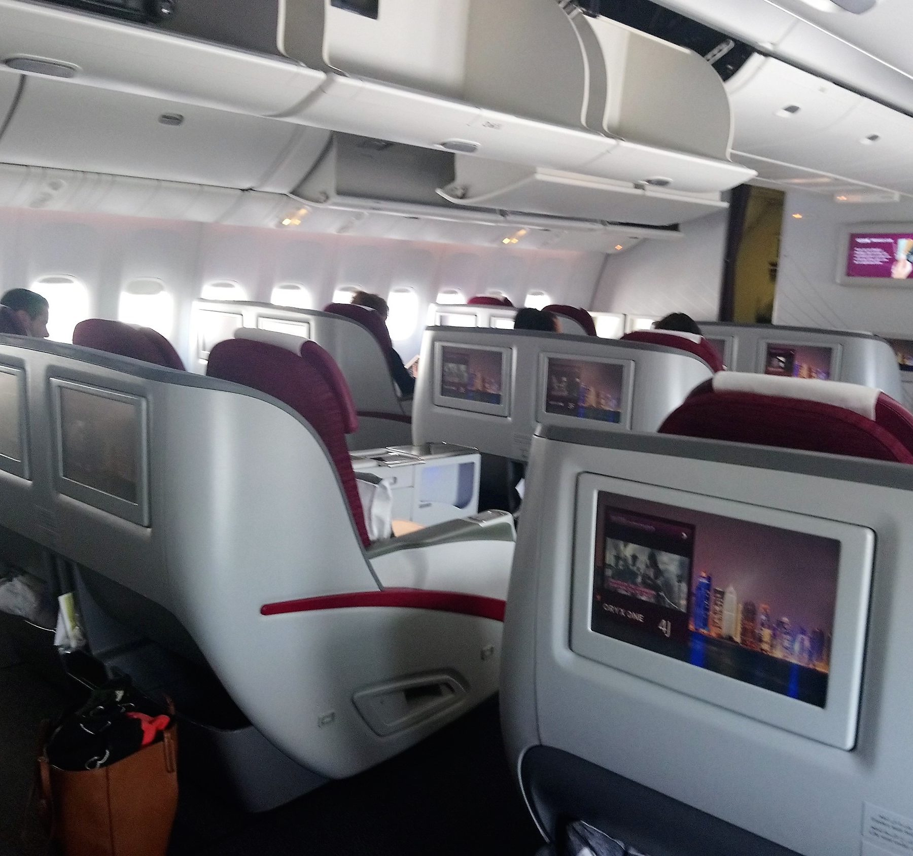 View of the seats on Qatar Airways Business Class