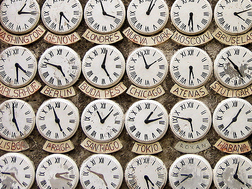 World clocks displaying time zones for Ways to Beat Jet Lag blog