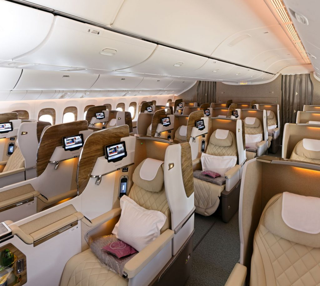 Emirates business class cabin on-board the A380