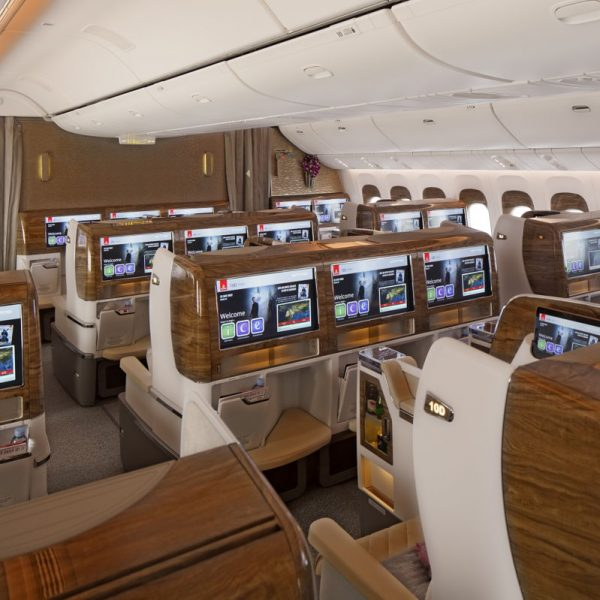 Emirates business class cabin on board the A380