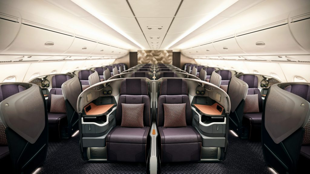 Singapore Airlines Business Class cabin on board the A380
