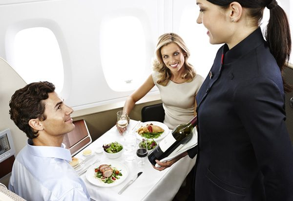 Qantas First Class Cabin Dining for 2