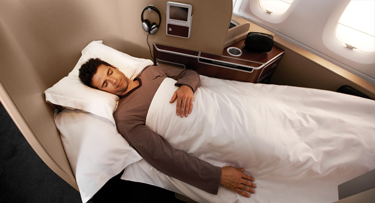 Qantas First Class Cabin lie-flat bed