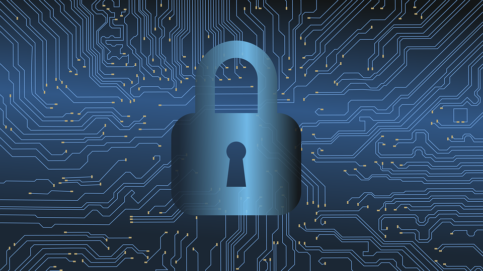 Padlock on motherboard for protect your data business travel blog