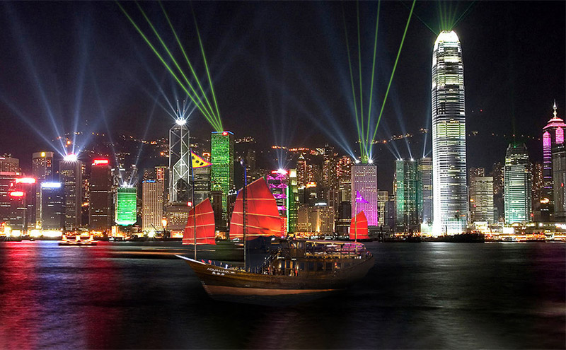 A Symphony of Lights show from Junk Boat Cruise, Hong Kong