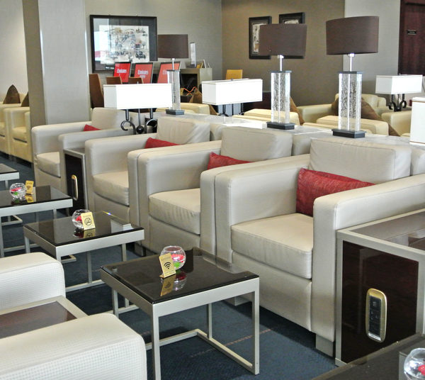 Seating area at Emirates Heathrow lounge
