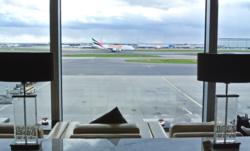Seat with a view at Emirates lounge Heathrow