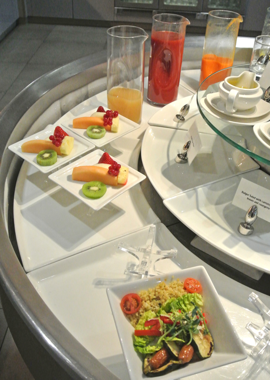 Healthy bites and juices at the Emirates lounge Heathrow